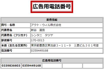 アクトウィル株式会社の貸金業登録されている電話番号一覧