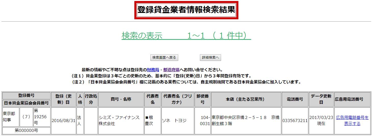 シミズファイナンス株式会社の貸金業登録情報