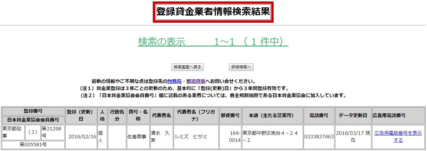 佐倉商事の貸金業登録情報