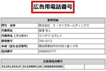 株式会社K・ライズホールディングスの広告用電話番号