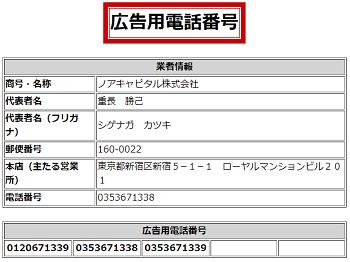 ノアキャピタル株式会社の広告用電話番号