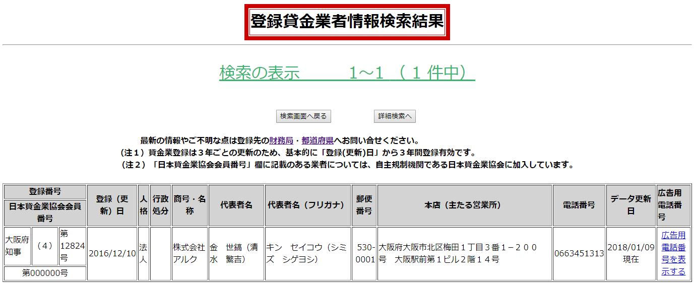 株式会社アルクの貸金業登録情報