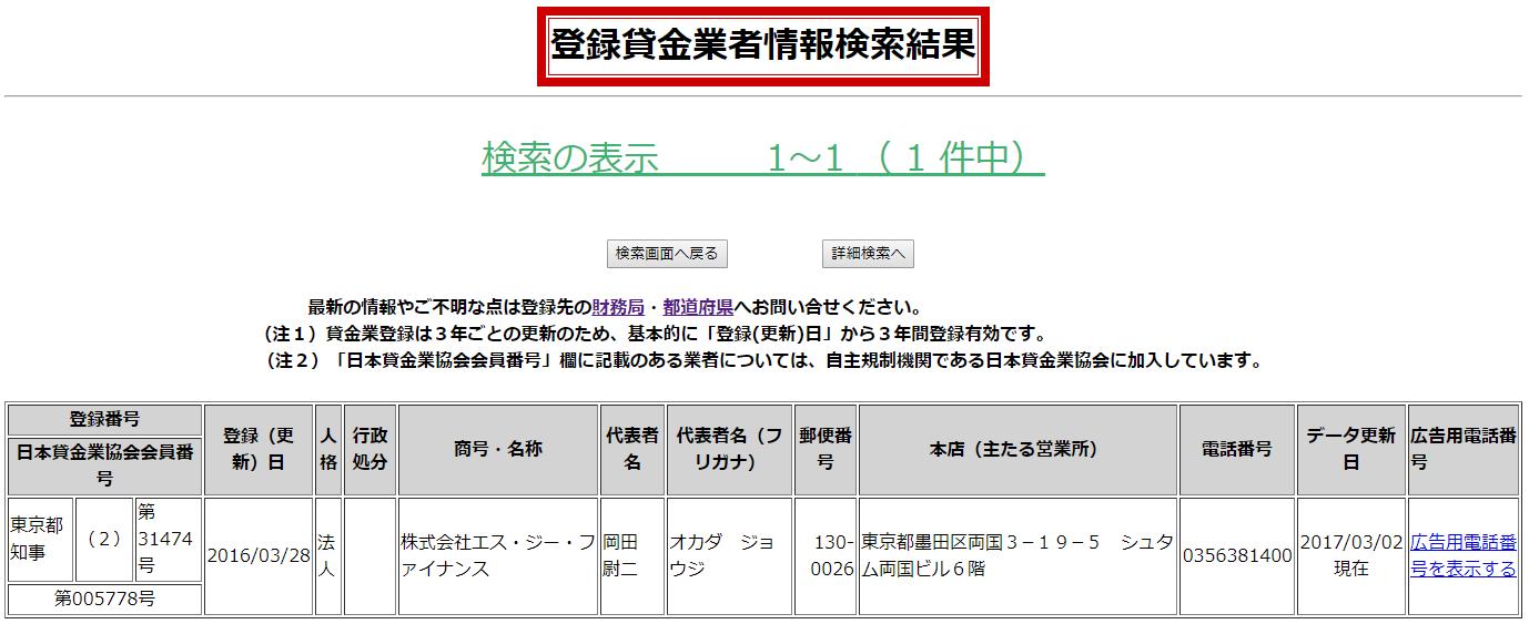 株式会社エス・ジー・ファイナンスの貸金業登録情報