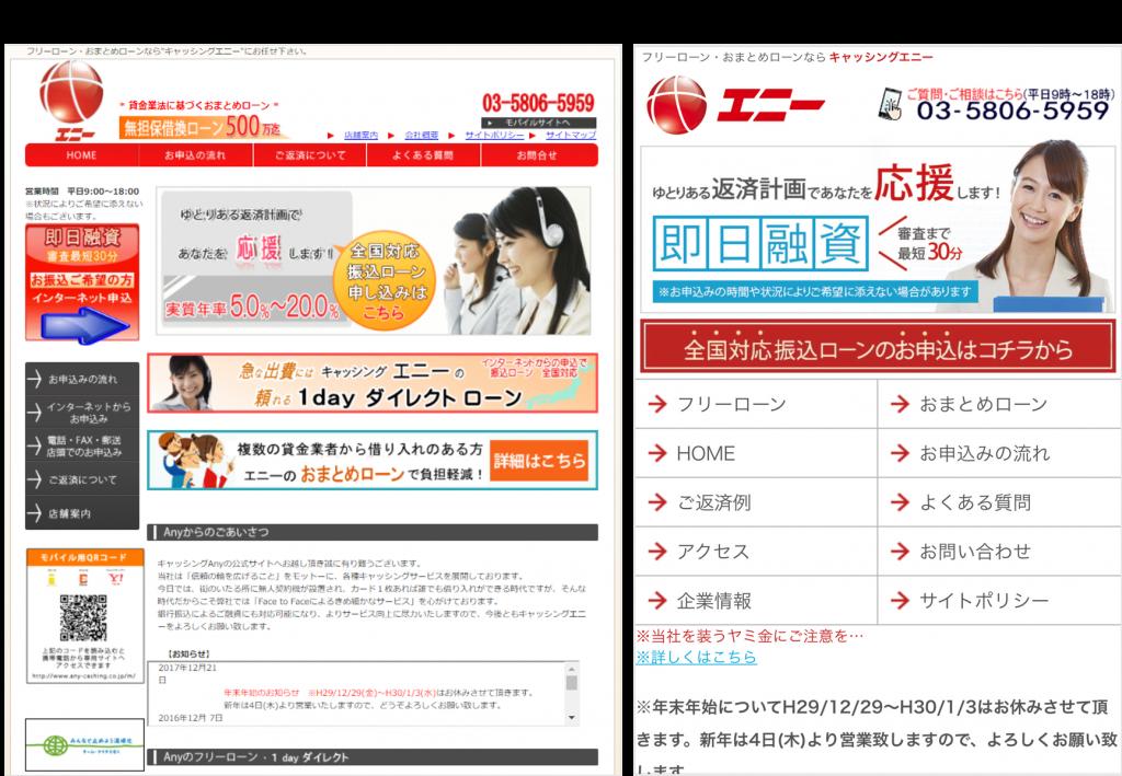 株式会社エニーのホームページ画像