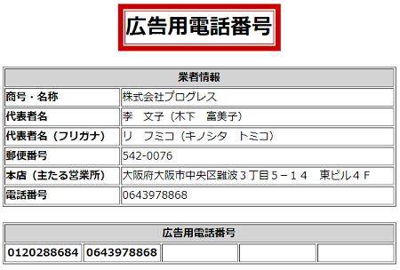 株式会社プログレスの広告用電話番号