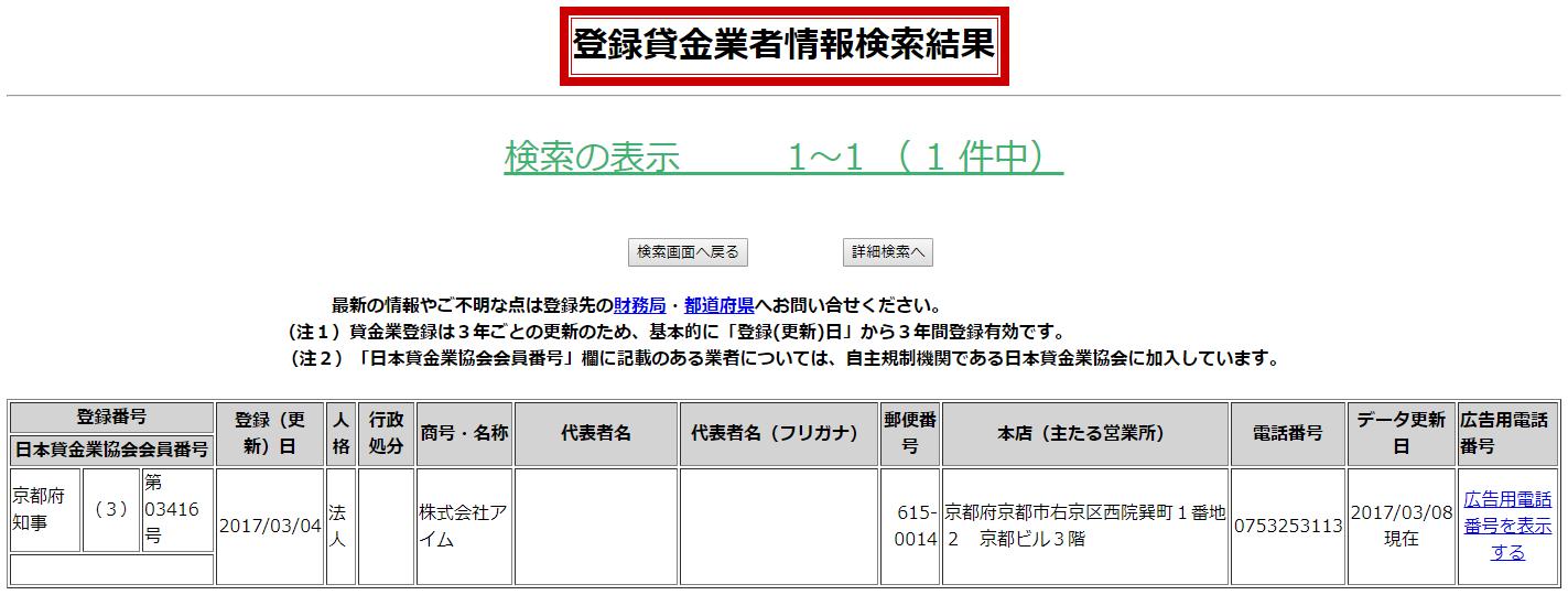 株式会社アイムの貸金業登録情報