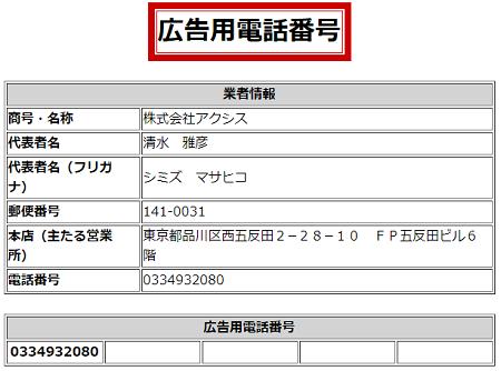 株式会社アクシスの広告用電話番号