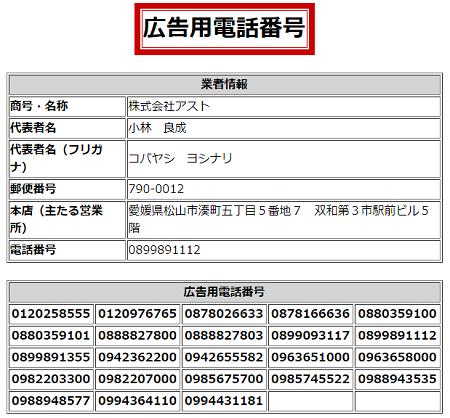 株式会社アストの広告用電話番号