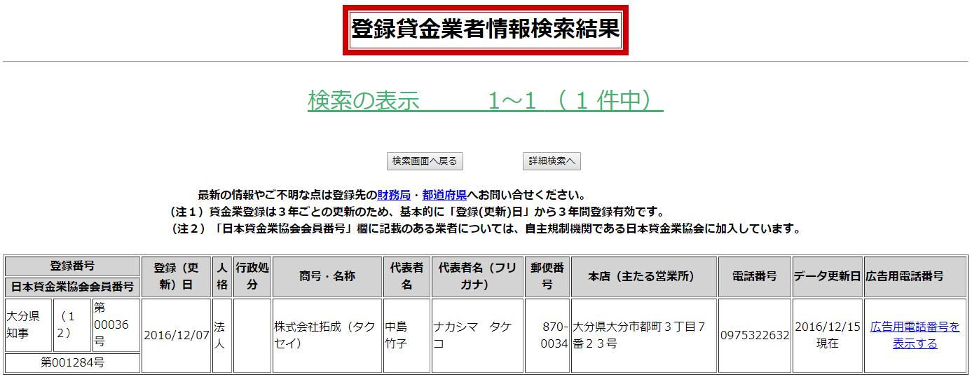 タクセイの貸金業登録情報