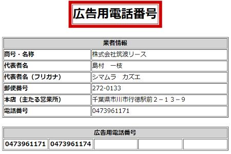 筑波リースの広告用電話番号一覧