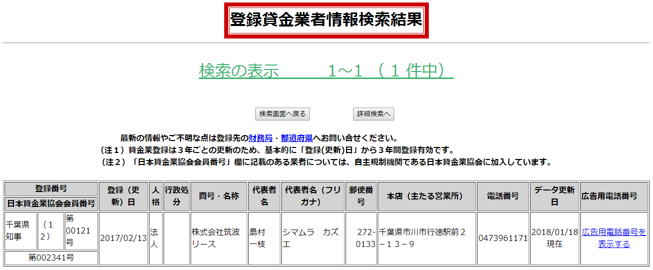 筑波リースの貸金業登録情報