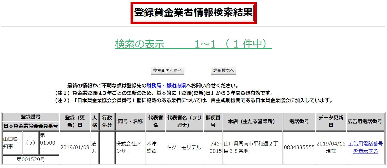 株式会社アンサーの貸金業登録情報