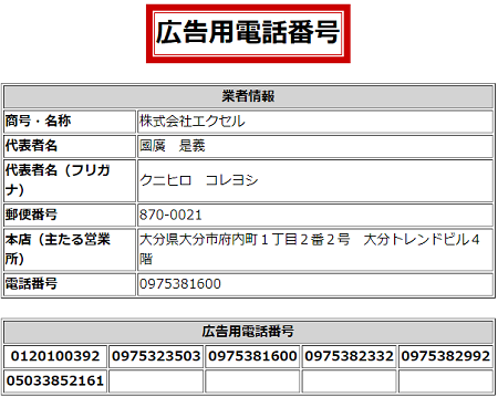 株式会社エクセルの広告用電話番号一覧