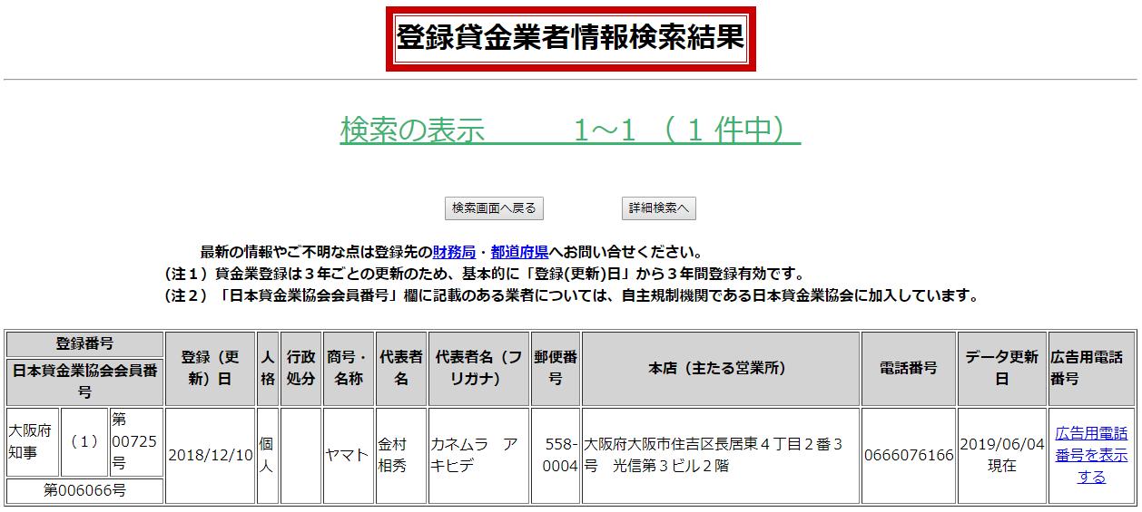 ヤマトの貸金業登録情報