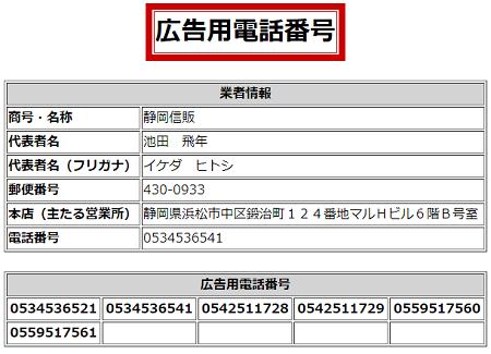 静岡信販の広告用電話番号一覧
