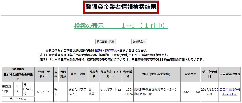 株式会社プランネルの貸金業登録情報