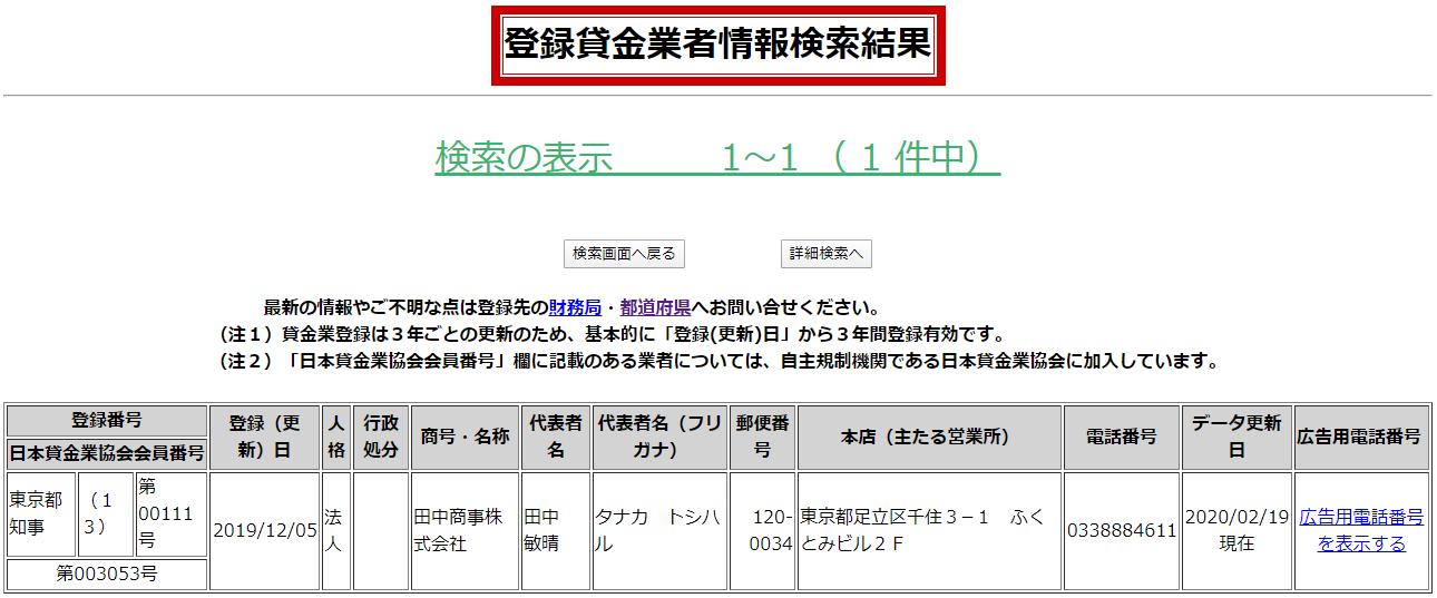 田中商事株式会社の貸金業登録情報